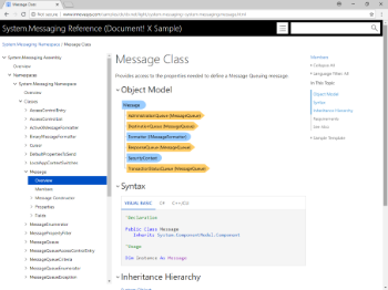.NET Documentation, Class Overview Page